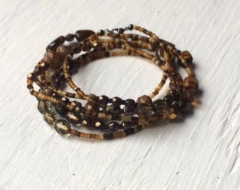 Long seed bead necklace, glass beaded necklacee or multi wrap bracelet, brown beaded necklace