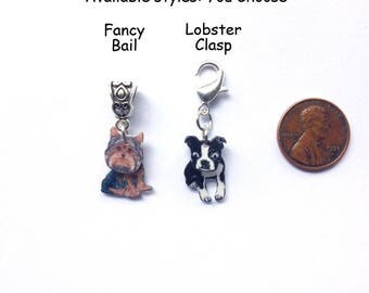 New for Christmas 2017! Handcrafted Tiny 3D Dog Breed Charms for Bracelets, Necklaces, Zipper Pulls, etc!