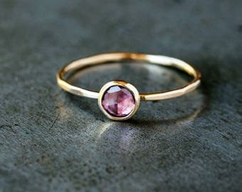 Rose Cut Pink Sapphire Ring, Unique Engagement Ring, 14k Yellow Gold Band, Diamond Alternative, Eco Friendly Gold,  Handmade Jewelry