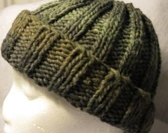 Hand Knit Wool Silk Hat Olive Green beanie skull cap