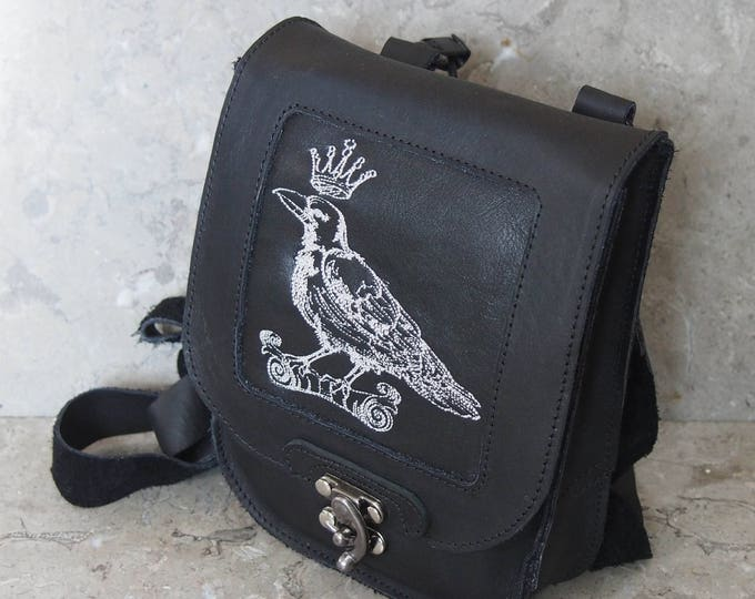 Raven King embroidered Leather Satchel