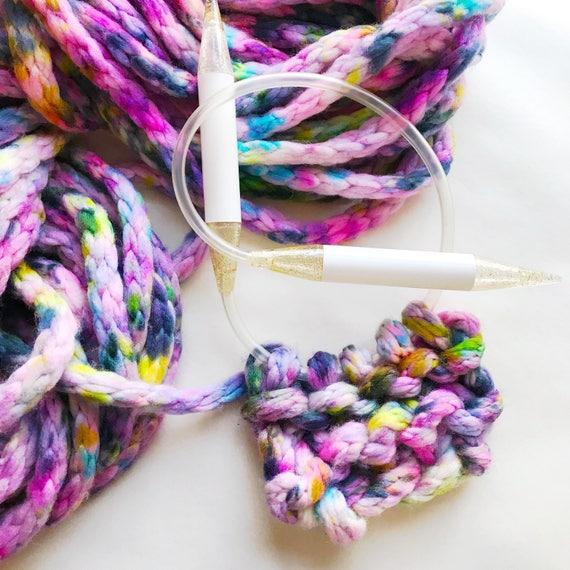 FOLKLORE hand dyed yarn. Huge Jumbo I-cord yarn.