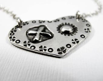 Hugs and Kisses Necklace X's & O's Necklace Sterling Silver Stamped XO Necklace One of a Kind OOAK Valentines Day Necklace