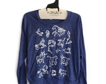 SALE Small- Navy Tri-Blend Sweatshirt with Animal Constellations Print