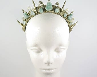 Obscura Green Quartz Crown - Queen of the Ruins Collection - by Loschy Designs