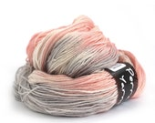 Hand dyed 4ply merino bamboo wool, fingering crochet yarn, Perran Yarns, Smoked Salmon grey peach pink variegated sock yarn skein, uk seller