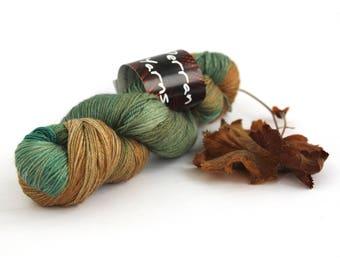 4ply silk baby camel yarn, variegated luxury skein handdyed fingering green brown knitting crochet yarn, Perran Yarns Deep Forest, uk seller