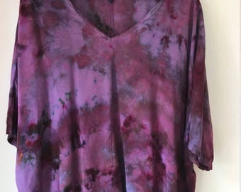 Hand Dyed V-Neck Blouse in Deep Sky, Bat Wing, Anna Joyce, Portland, Or