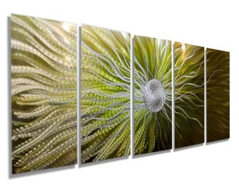 Large Green & Silver Abstract Metal Wall Art, Modern Painting, Home Decor, Contemporary Metal Wall Sculpture - Dreamstate by Jon Allen