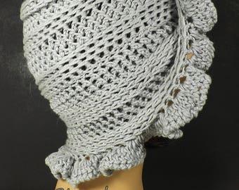 Gray Cloche Hat, Floppy Sun Hat, Gray Crochet Hat Womens Hat 1920s, Summer Hat Woman, Dove Gray Hat Cynthia Cotton Cloche Hat with Ruffle