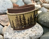 Leather Cuff Bracelet Wrap, Wilderness Pine Tree Print in Olive Taupe* SALE * Coupon Codes