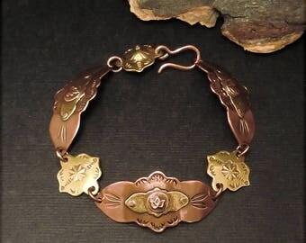 "B1553 Copper and Brass linked Bracelet 8"""