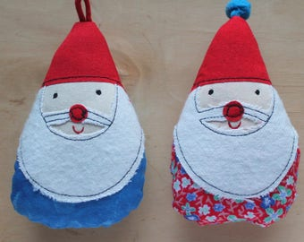 George and Olof - Santa buddies appliqued Christmas ornaments