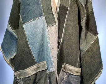 CUSTOM Hooded Recycled Denim Poncho made from Post Consumer Jeans Lots of Frayed Patchwork Style