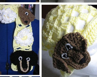 Crochet Pattern - Dachshund Lace & Flower Scarf, Tote and Lace Hat Pattern - Dachshund Gift - Women's Scarves - Teen Gift - Crochet Animals