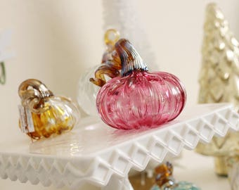 Hand-Blown Ruby Glass Pumpkin with Metallic Gold Stem