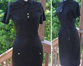 BLACK 1960's Vintage Black Nylon Uniform Wiggle Dress with White Buttons // size Small Bust 32 34 Waist 26 // by Peter Howard