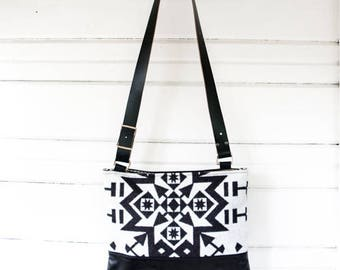 Large Drew Leather and Wool Crossbody Bag