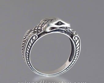 OUROBOROS silver mens Snake ring with Black Diamonds