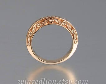 UNDER A SPELL Wedding Band 14k rose gold and White Sapphires half-eternity band