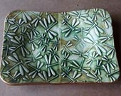 Ceramic Trinket Dish Soap Dish dragonfly Moss Green edged in gold