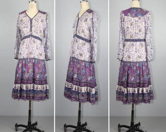 india dress / 1970s / cotton gauze / ROSALIE / bohemian vintage hippie dress