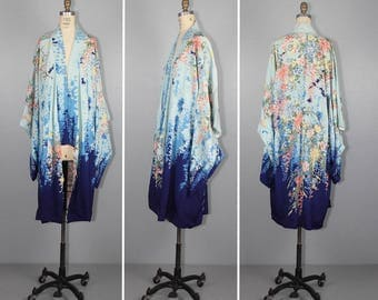 1940s kimono / silk robe / floral / dressing gown / flapper / art nouveau