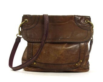90s Leather Fossil Purse / Vintage 1990s Medium Size Distressed Boho Dark Brown Hobo Bag / Long Cross Body Shoulder Strap