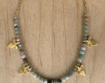 Blue & Gold Spike Necklace