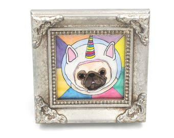 Unicorn Pug Painting Gift, Unicorn Art, Pug Decor, Funny Animal Art, New Job Gift, Cubicle Art Decor, College Graduation Gift, Pug Art