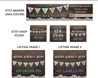 Etsy Shop Set, Cover Photo, Etsy Shop Design, Custom Cover Banner Set, Etsy Banner Sets, Retro Banner Set, Victorian Banner, Shop Banner
