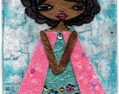 ACEO/ATC - Afro Girl with Pink & Turquoise Glitter Dress with Jeweled Accents