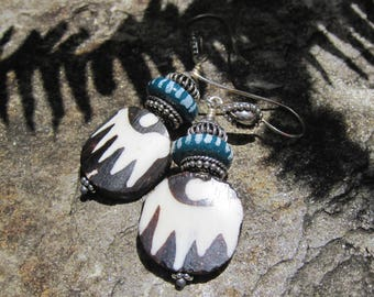 Batik Bone Tribal earrings- Ethnic Jewelry- Rustic Boho Lisa New Design