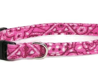 XS Dog Collar - Raspberry Pink Bandana - Extra Small, Teacup, Miniature - Cute, Pretty and Fancy