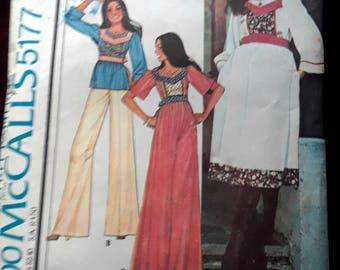 1976 Hippie Boho McCall's Tunic Dress or Top Pattern Vintage Size 5 Carefree Patterns Junior's Coachella Festival Dress