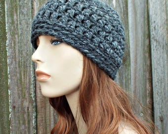 Granite Grey Beanie - Grey Crochet Hat Grey Womens Hat Grey Mens Hat - Warm Winter Hat Grey Hat
