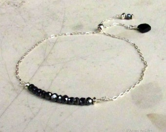 Sterling Silver Gemstone Bolo Bracelet, Black Spinel and Onyx, Adjustable Tassel Bracelet - Delicate Jewelry