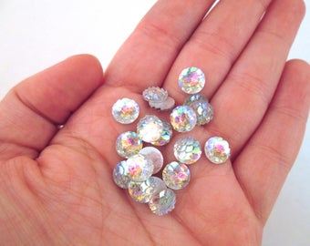 Ten 8mm Clear Fish Snake Scale Cabochons, Mermaid Cabochons, H417
