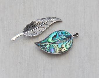 2 Vintage Leaf Brooches - sterling silver and Mexican abalone shell inlay leaves - curved spring fall pin set