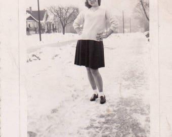 Look Ma, No coat! - Found Photograph, Original Vintage Photo, Photograph, Old photo, Snapshot, Photography,