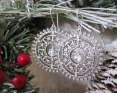 The Wheel of Winter - Silver Filigree Medallion Earrings with Cut Crystal Centers