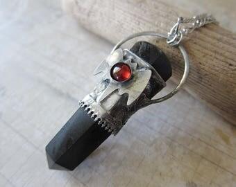 Chiroptera - Bat Talisman Pendant with Black Tourmaline and Red Garnet