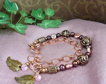 Copper Bead Bracelet ~ Pink Bracelet ~ Burgundy Bracelet ~ Pearl Bracelet ~ Copper Bracelet ~ Oak Leaf Bracelet ~ Adjustable Bracelet