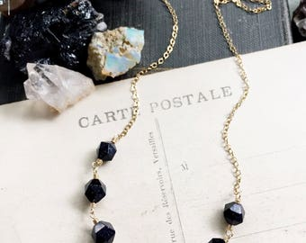 Night sky...Blue goldstone necklace, labradorite, sparkle, energy, gold necklace, throat chakra, healing, layering necklace FREE SHIPPING