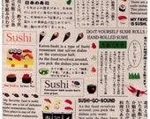 HALF YARD Lecien - Food Land - Sushi Go Round on Natural - 40903-11 - Cotton Japanese Import Roll, Fish, Sashimi, Roe, Rice