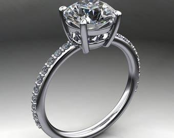 eliza ring - 2 carat diamond cut round NEO moissanite engagement ring, 14k white gold