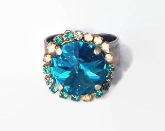 Swarovski crystal 14mm rivoli fancy stone ring,indicolite and multicolour rhinestones