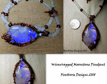 Handmade Wire-wrapped Moonstone Pendant Necklace by FireHorse Designs of Texas