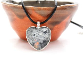 Heart Made with Paint Pendant in Grey and Orange