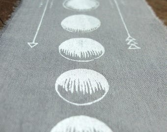 "Moon Phases - 10x3"" Screen Printed Sew-On Art Patch"